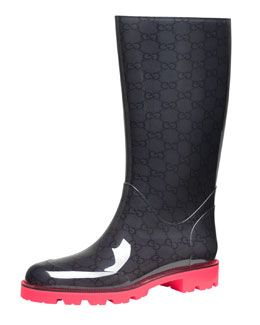 06f23fa9 X1R2G Gucci Flat Neon-Sole Rain Boot, Pink | Blame It On The Rain ...