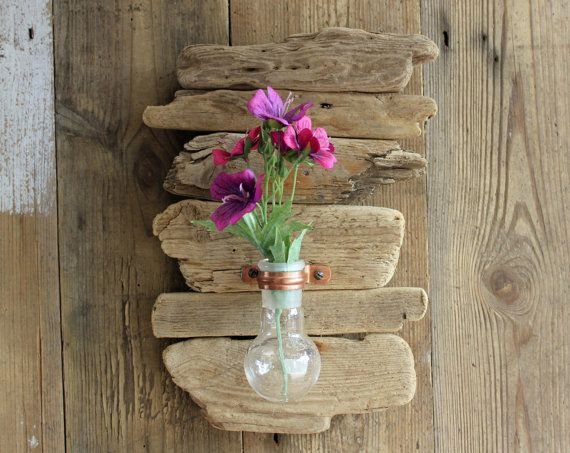 Driftwood Upcycled Chemistry Glass And Copper Wall Sconce Vase