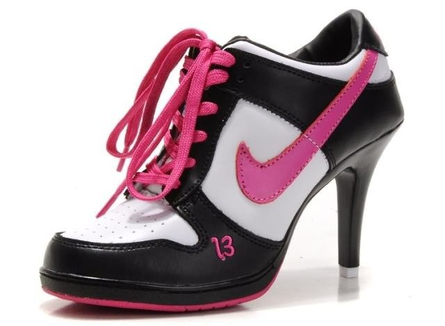 6137ab905 Nike Dunk Unlucky 13 High Heels Black White Pink