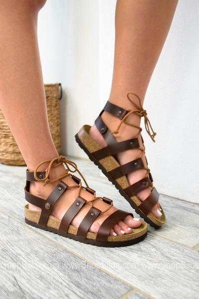 f40942817933 Cleo Cognac Leather Sandal
