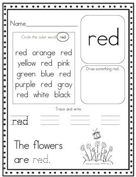 color word worksheets Google Search Kindergarten