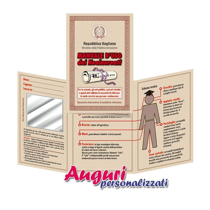 Biglietto manuale d 39 uso dei neo laureati di cm 15x22 con applicata all 39 interno una carta a - Carta a specchio ...