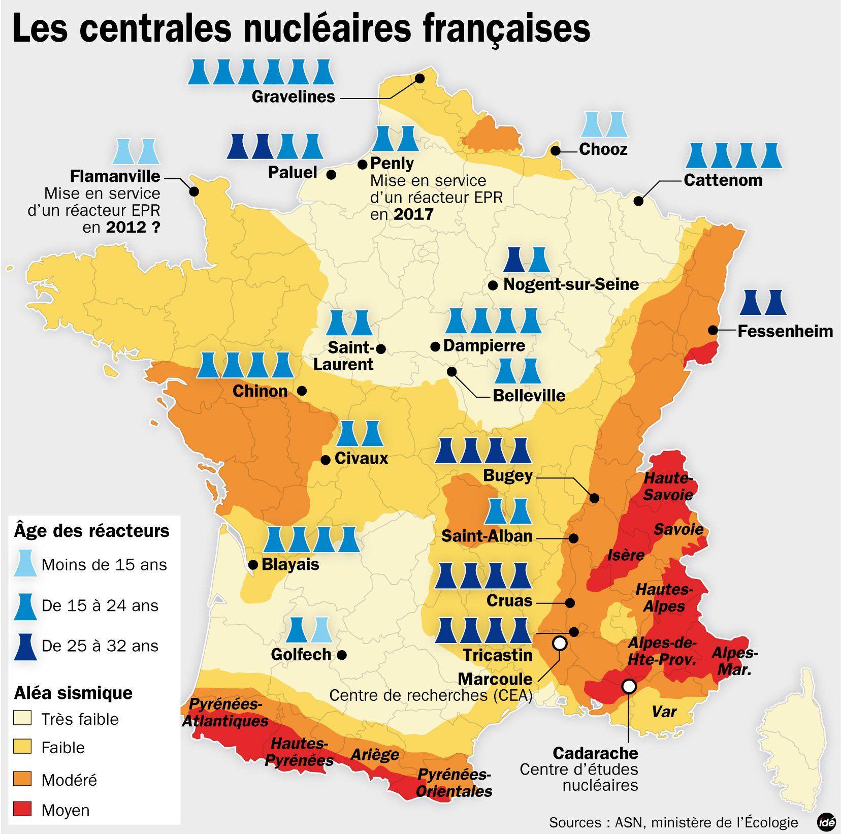 Les Centrales Nucleaires En France Versiones Mapas