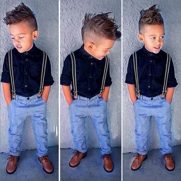fb81a24563f78 Kids Baby Boy Long Sleeve T-Shirt Tops+Braces+Denim Trousers Clothes Outfit  3Pcs