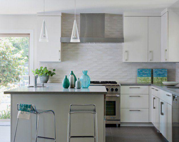 White wavy subway tiles backsplash House kitchen design