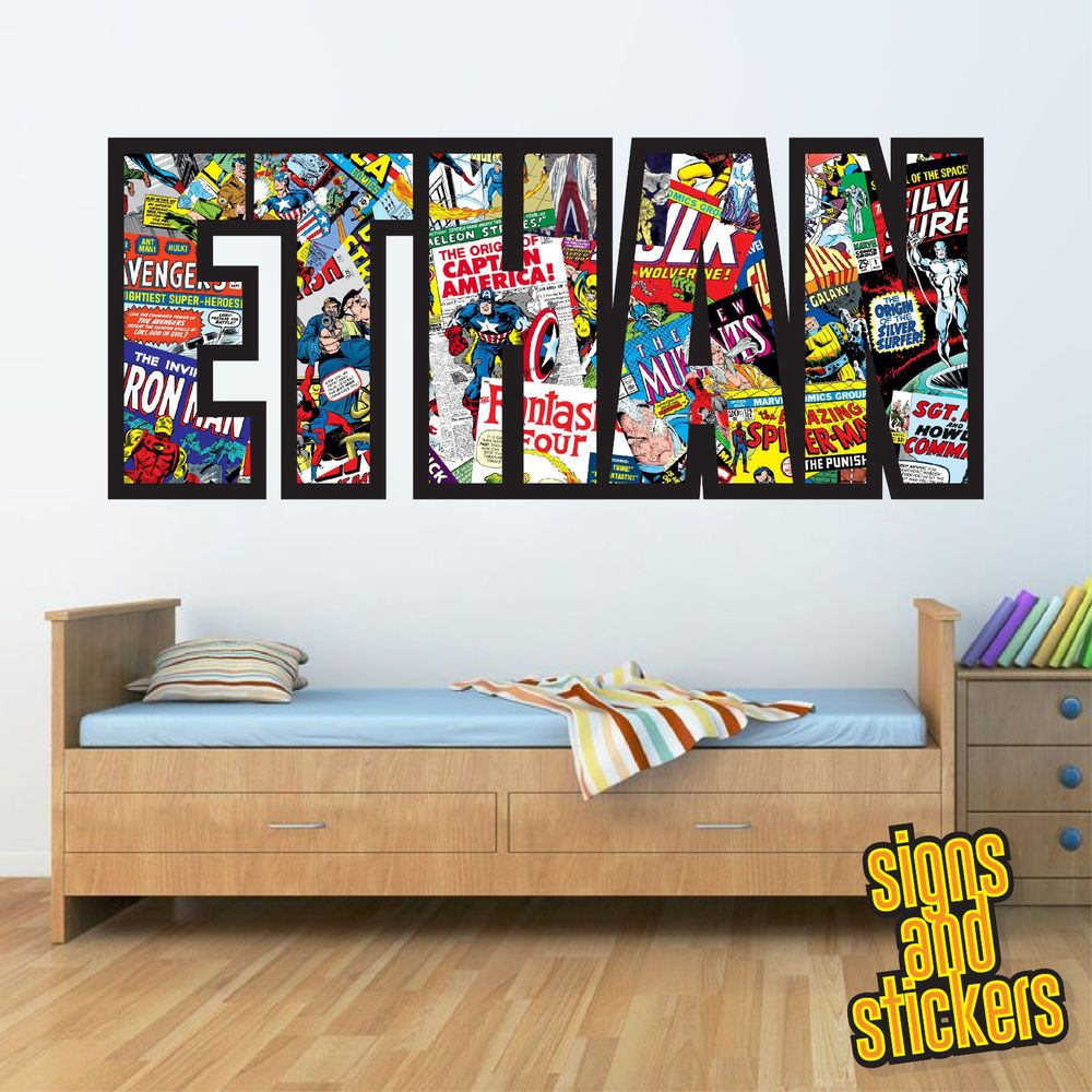 Childrens Personalised Name Wall Stickers Marvel/Avengers Boys ...