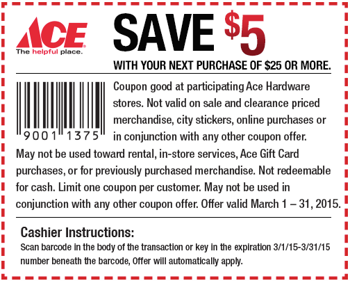5 Off 25 At Ace Hardware Ace Hardware Coupons Coupon Apps