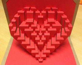 Lionheart Kirigami Pop Up Valentine Card Etsy Valentines Cards Origami Crafts Kirigami