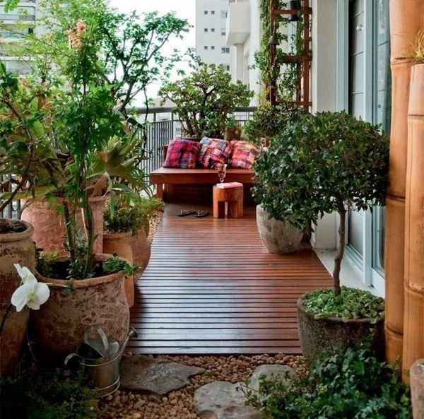 Balcony Decor Ideas Wood Tile Large Flower Pots Garden Bench Decorative  Rocks
