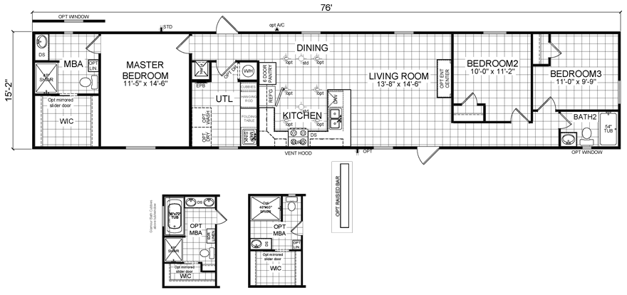 Raven 16 X 76 1152 sqft Mobile Home