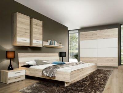 Schlafzimmer mit Bett 180 x 200 cm Sandeiche  weiss Jetzt
