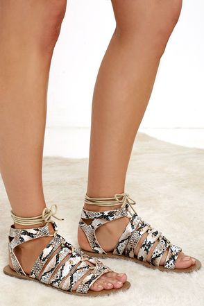 0693308a8ed014 Outlying Lands Snake Print Lace-Up Flat Sandals at Lulus.com!