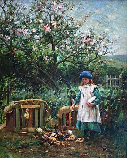 Feeding the ducks,   by Henry John Yeend-King (1855 – 1924, English)