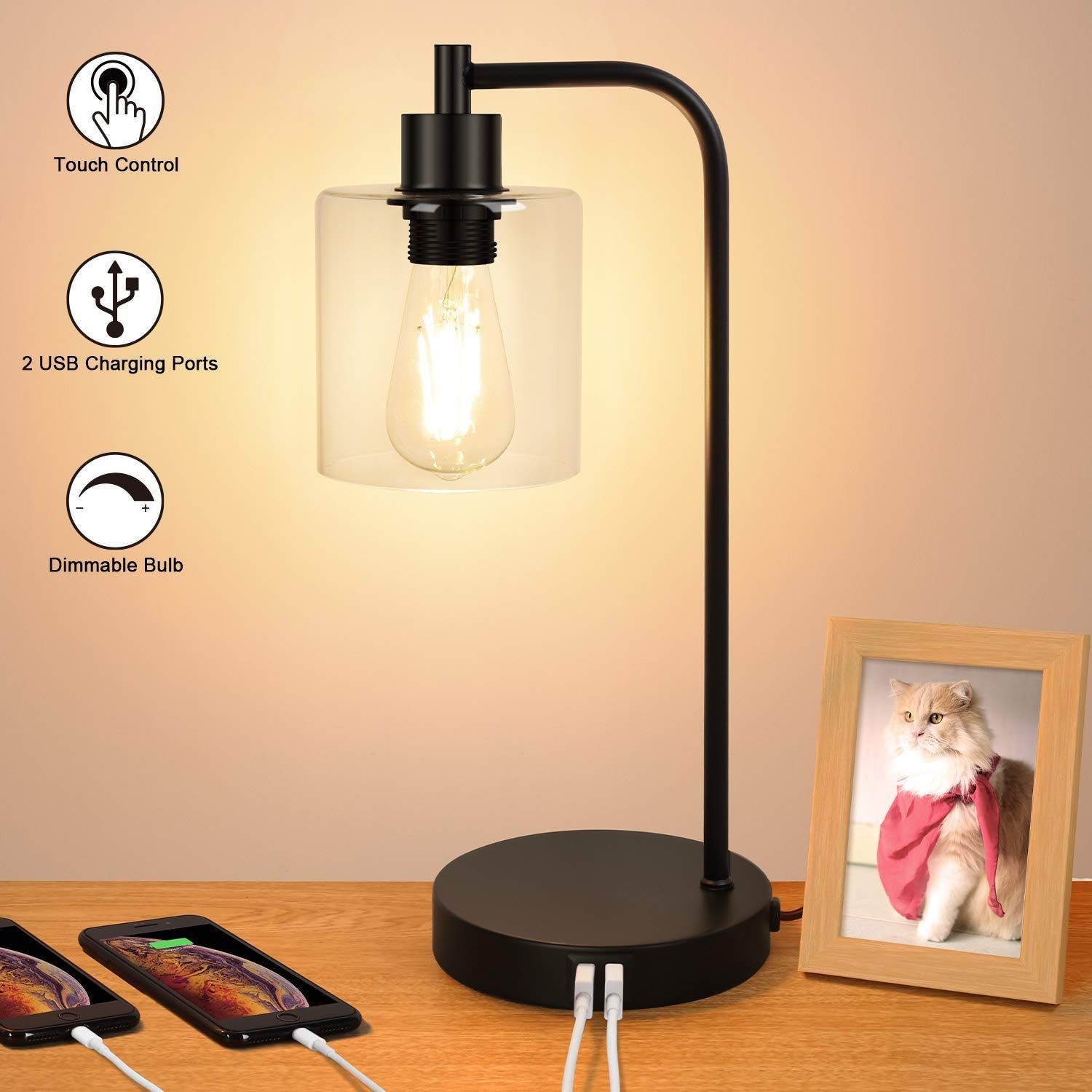 Industrial Touch Control Table Lamp Dual Usb Charging Ports 3 Way Dimmable Vin Charging Control Dimmable Dual Industrial Lamp Por In 2020 Bedside Lamps Design