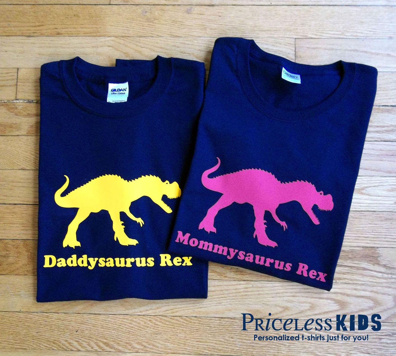 b33129979 Daddy dinosaur and mommy dinosaur t shirt set, personalized adult dinosaur  tshirt combo. Etsy.