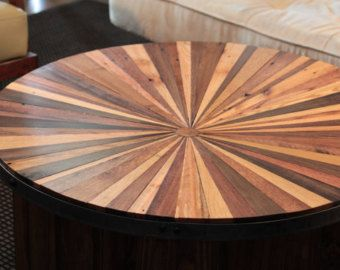 Sunburst Reclaimed Wood Coffee Table Artesanato De Madeira
