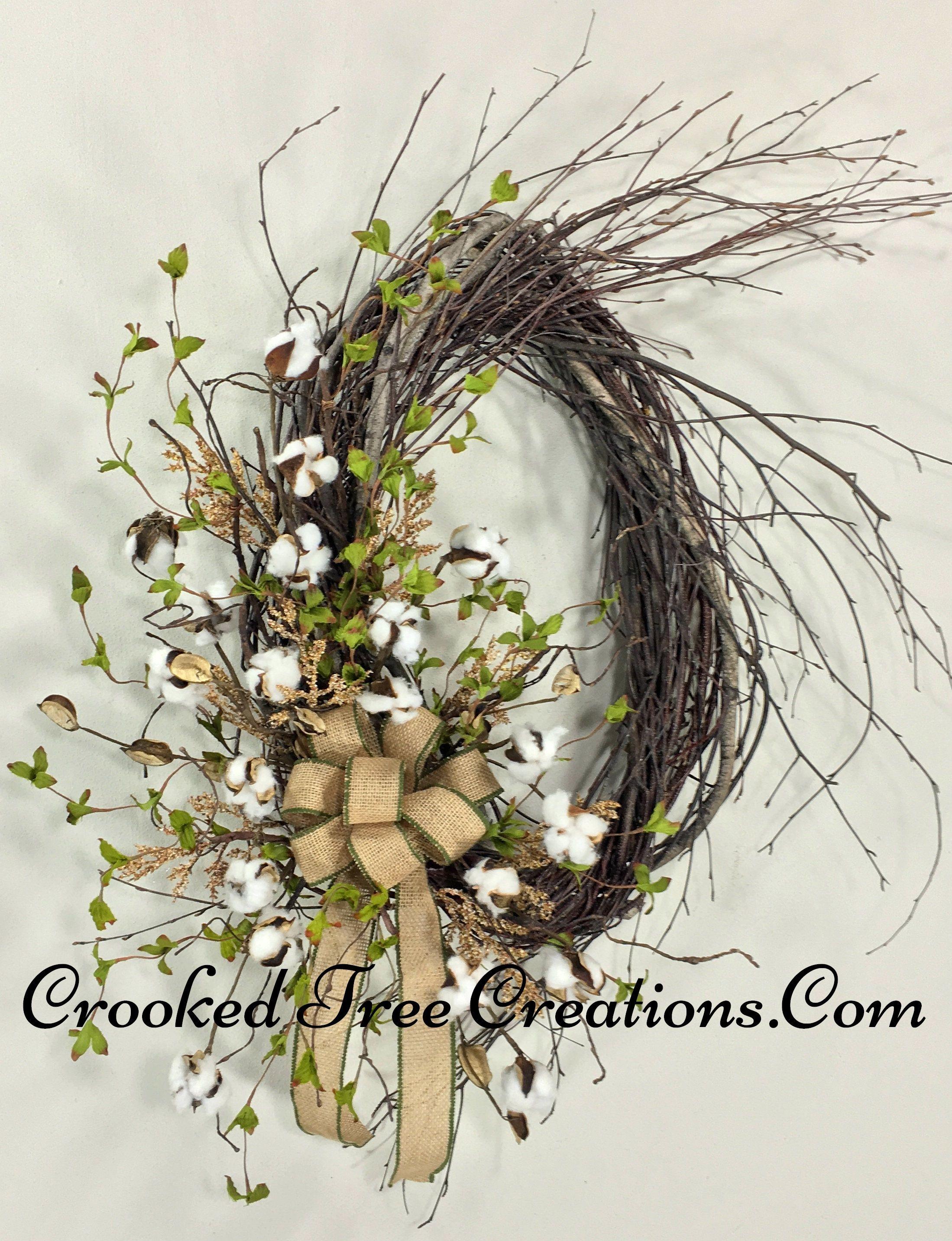 Rustic Natural Cotton Ball Birch Wreath Wreaths Cotton Boll Wreath Spring Wreath