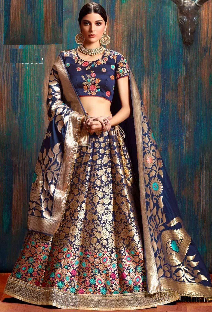 27628db9b Blue Silk Designer Lehenga Choli in 2019