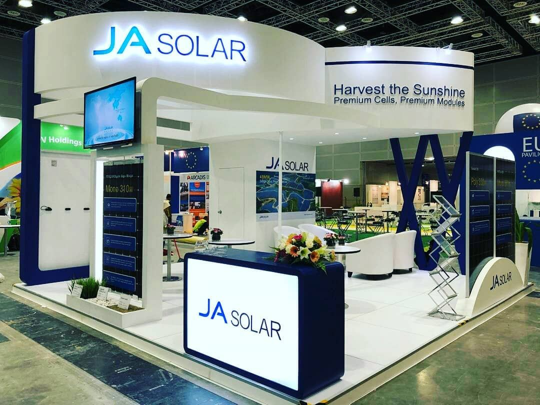 Exhibition Hall Booth : Ja solar l igem 2018 l klcc l malaysia #exhibition #fair #event