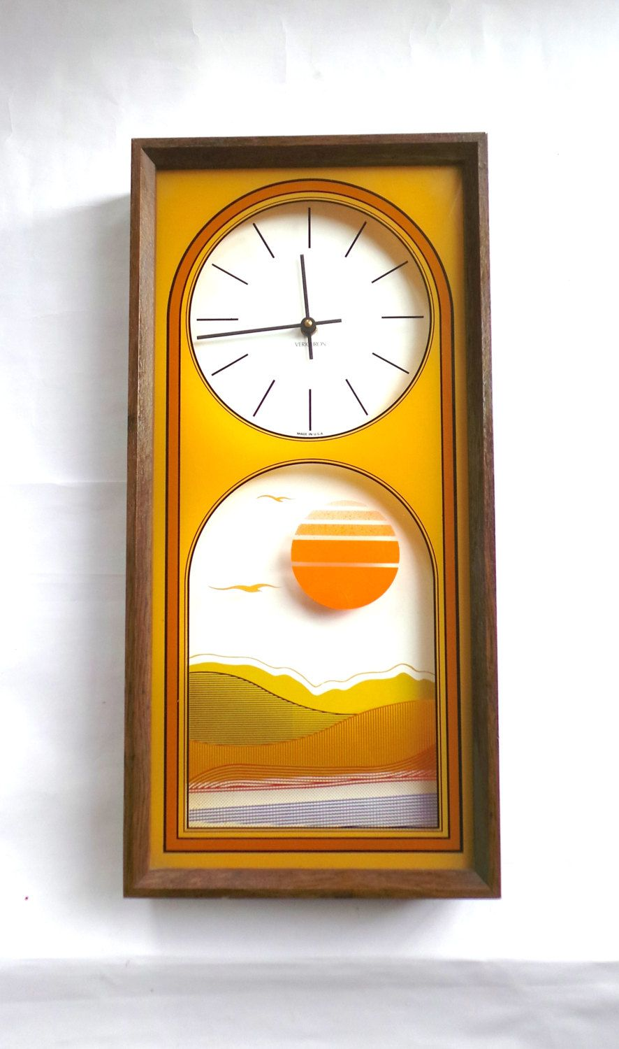 1970s wall clock by verichron shadowbox sunset clock groovy wall clock by verichron shadowbox sunset clock groovy clocks decor reverse glass painted clocks by lizzietishvintage on etsy amipublicfo Image collections