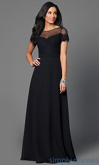 4b835cbc5cf7 Long Black Evening Gown with Short Sleeves | Mori lee, Military ball ...