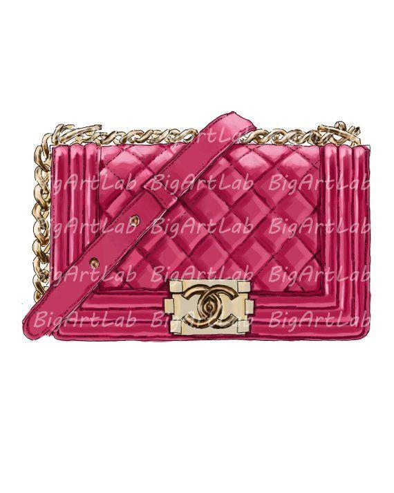 98b96aff16c29f PSD file instant download fashion illustration chanel bag red pink gold  decor printable art gift fri