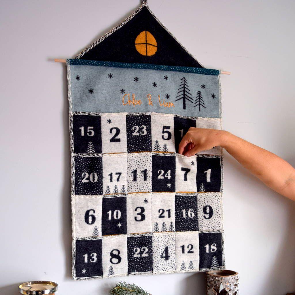 Embroidered Scandi Advent Calendar House Advent Calendar House Fabric Advent Calendar Diy Advent Calendar