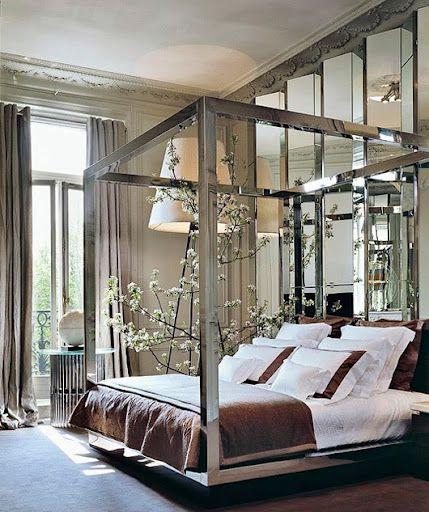 Four Poster Bed W Mirrored Canopy Dreamhome Romantic Home