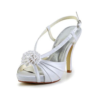 Pretty Satin Stiletto Heel Sandals with Flower and Buckle Wedding/Party/Evening  Shoes(