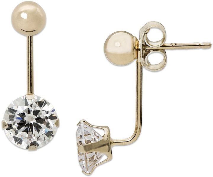 ef9bfa8dfbce JCPenney FINE JEWELRY Cubic Zirconia and 14K Yellow Gold Ball Front-To-Back  Stud Earrings