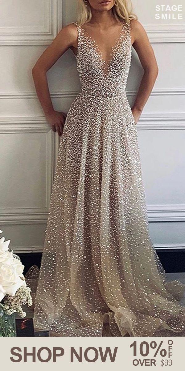 [$42.99 USD] Sexy V-Neck Sparkling Evening Dress #dreamdates