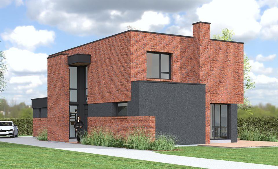 Maison en toiture terrasse en briques rouge avec entrée cathédrale