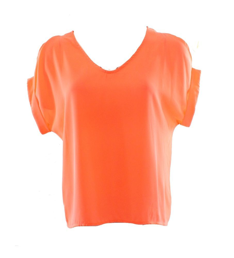 Lush New Solid Orange Neon Women's Size XS Cold Shoulder Boxy Blouse $36 Deal | eBay
