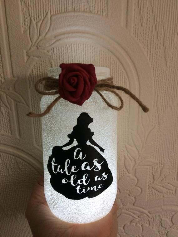 Belle large beauty and the beast lantern jar tale as old as time ideal for wedding centre piece party