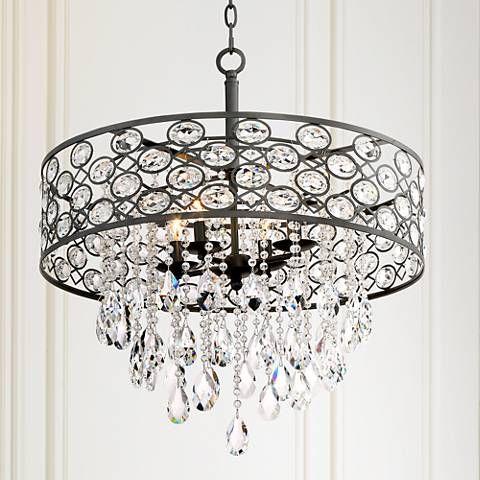 Ellena 24 Wide 4 Light Black Crystal Pendant Light 9h542 Lamps Plus Crystal Pendant Lighting Black Crystal Chandelier Black Crystals
