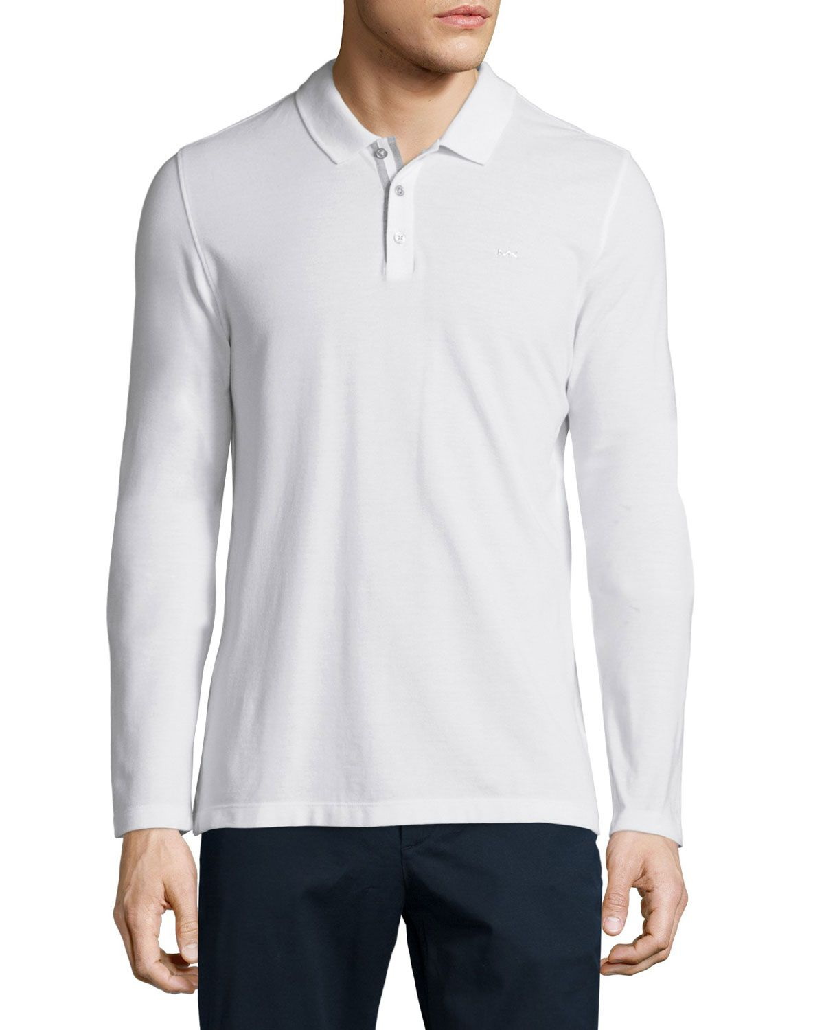3cea5028 MICHAEL Michael Kors Long-Sleeve Pique Polo Shirt, White, Men's, Size:  XX-LARGE - MICHAEL KORS