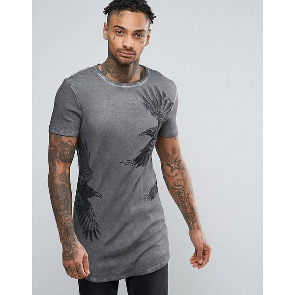 ASOS Extreme Muscle Longline T-Shirt With Bird Print And Curved ...