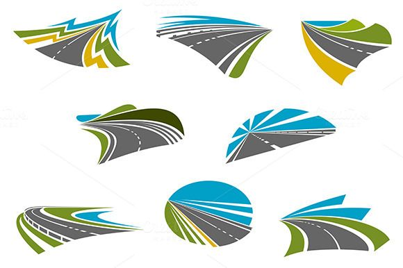 Highway, pathway and roads icons by seamartini on @creativemarket