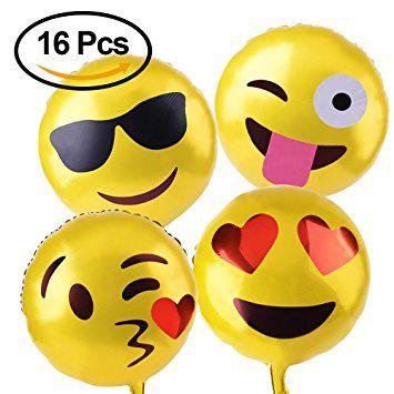 Kuuqa Reusable Emoji Mylar Party Balloons Supplies 16 Piece Happy Birthday