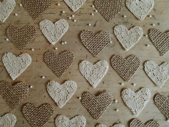 50 Pcs Handmade Heart Shaped Confetti made from Burlap and Lace Fabric in Hessian and Beige, Wedding Decor, Scrapbooking