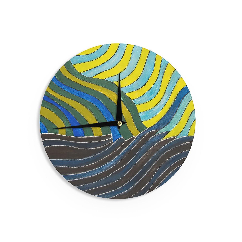 Kess InHouse NL Designs 'Desert Waves' Yellow Wall Clock