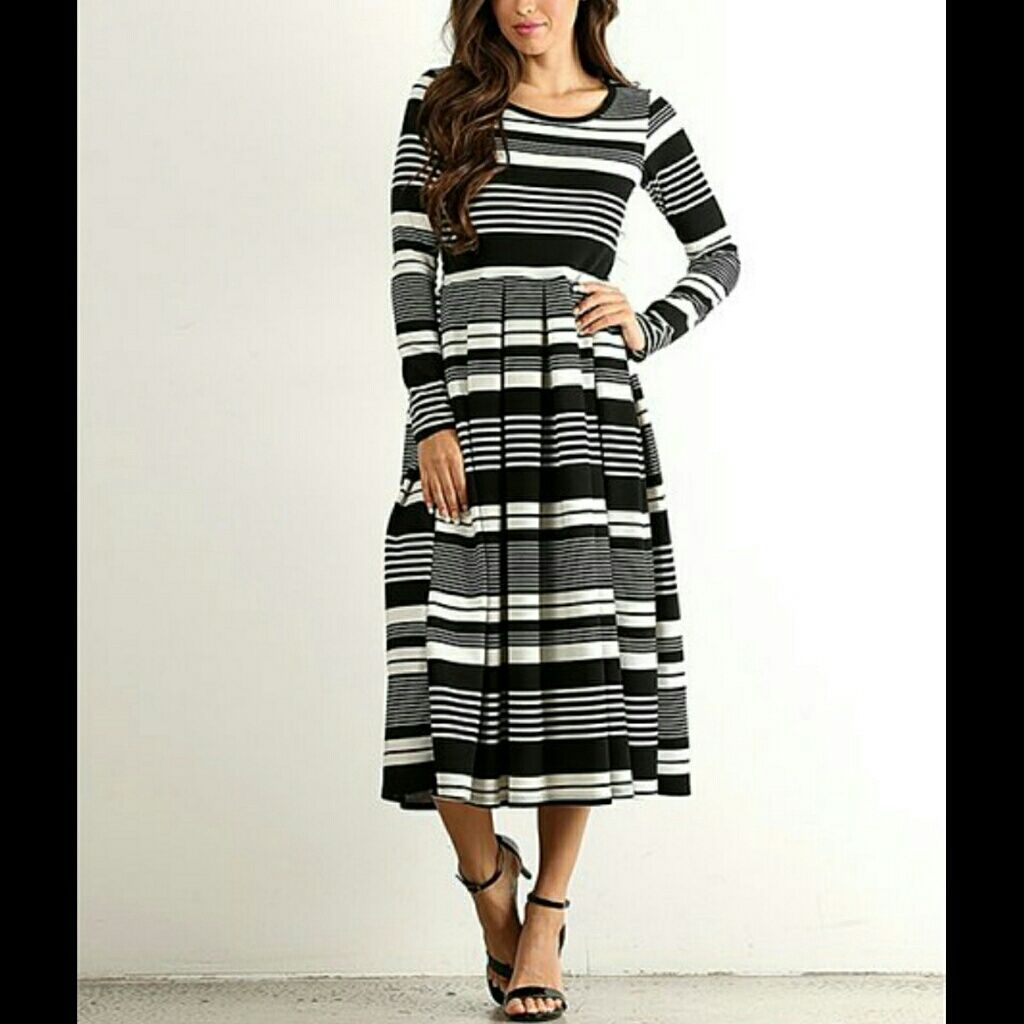 md leftblack stripe long sleeve midi dress boutique