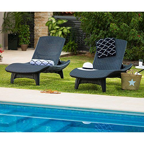 Keter Set Of 2 Pacific Sun Lounge Outdoor Chaise Pool