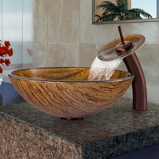 VIGO Amber Sunset Glass Vessel Sink And Waterfall Faucet Set In Oil Rubbed  Bronze By Vigo