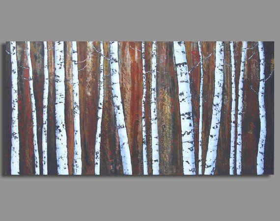 BIRCH FOREST painting abstract birch tree por SageMountainStudio