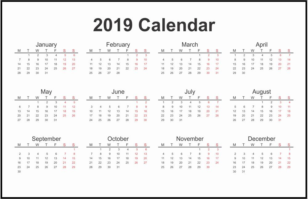 2019 One Page Calendar Template download 2019 one page printable calendar | 2019 Calendars | Free