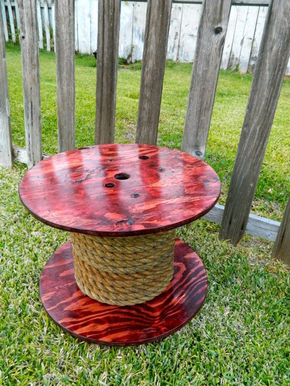 Lovely Medium Spool Table Reclaimed Wood By Ohkdesign On Etsy, $125.00