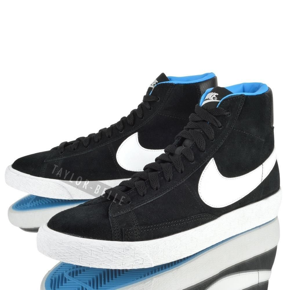 new concept 1d1e0 432f6 BLack suede, blue sole KIDS BOYS JUNIOR NIKE BLAZER MID VINTAGE HI TOP BLACK  WHITE SUEDE TRANIERS SHOES