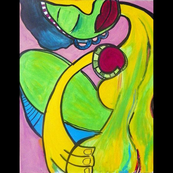 Colorful Women Series - 16x20 - Abstract art, acrylic painting