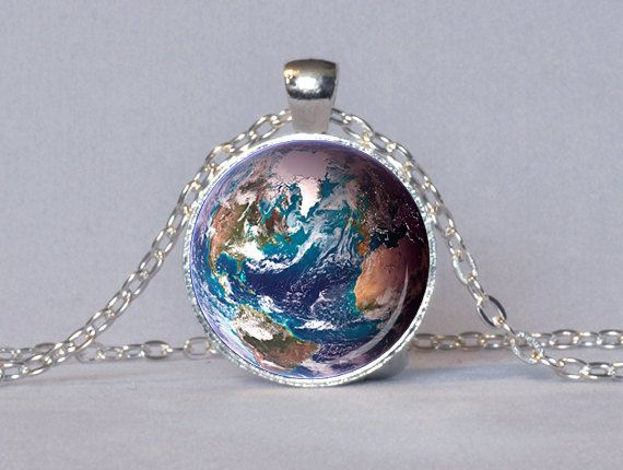 Earth planet workd personalised  silver necklace